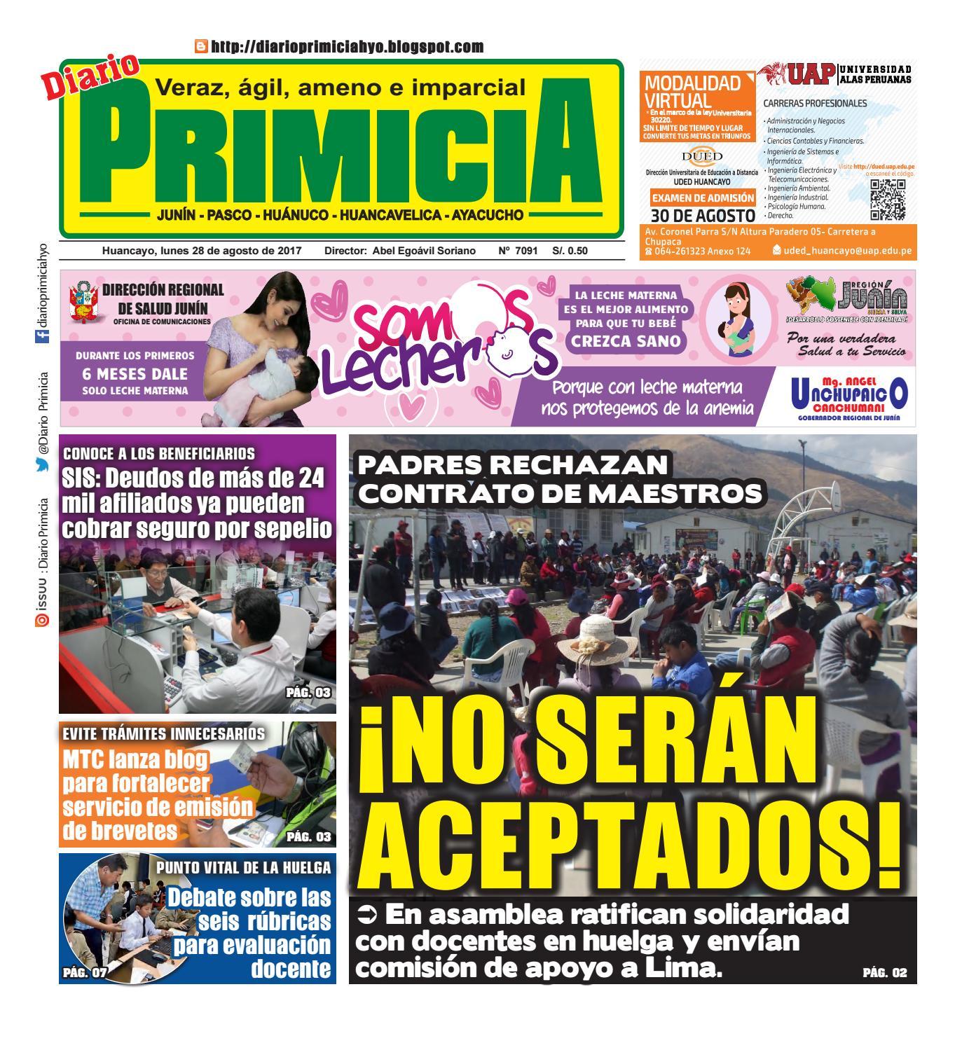 Diario Primicia Huancayo 28/08/17 by Diario PRIMICIA - issuu