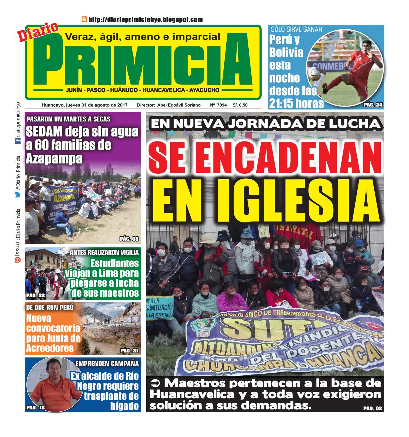 Diario Primicia Huancayo 31/08/17 by Diario PRIMICIA - issuu