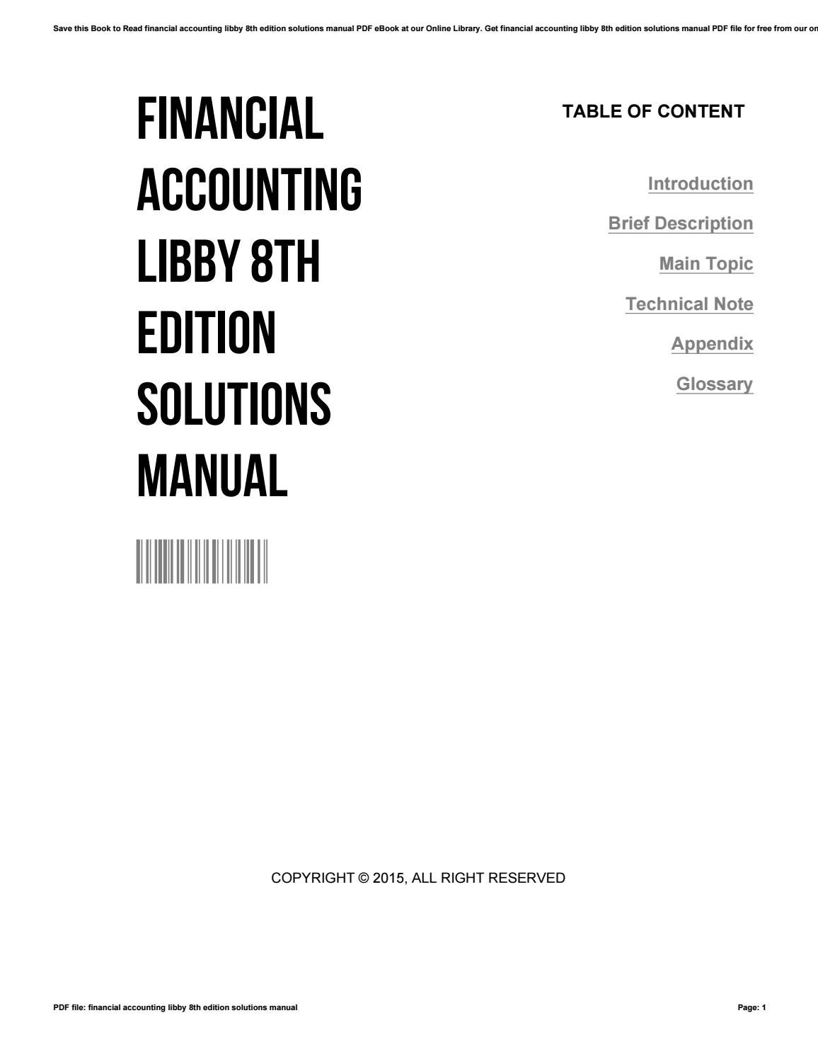Financial accounting libby 8th edition solutions manual by  CarolinaWoods4808 - issuu