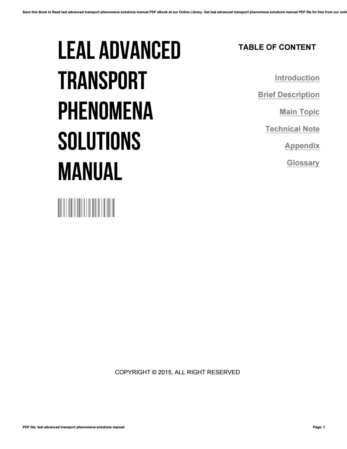 Leal advanced transport phenomena solutions manual by SusanLucas4421 - issuu