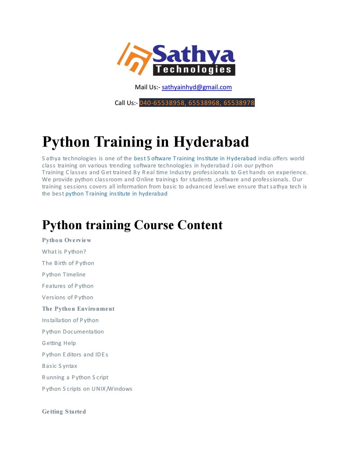 Python course training institute ameerpet hyderabad by