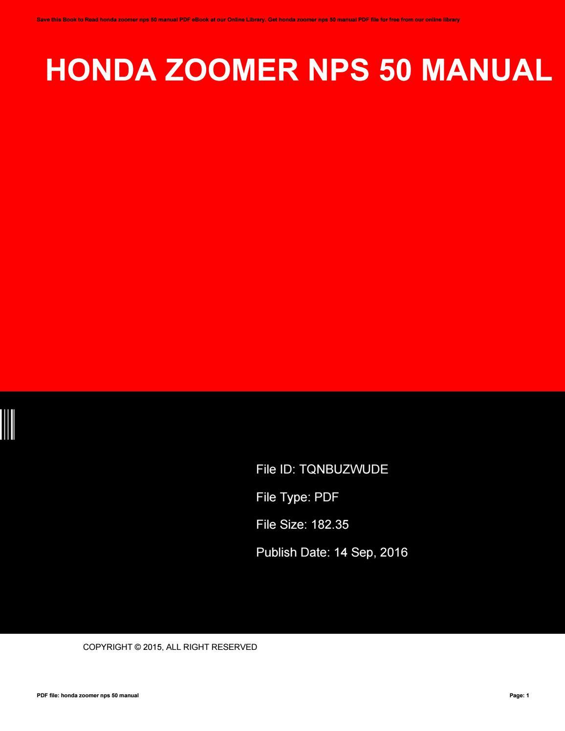 Honda Zoomer Nps 50 Manual By Shaunnabrown4282 Issuu 2012 Ruckus Nps50 Wiring Diagram