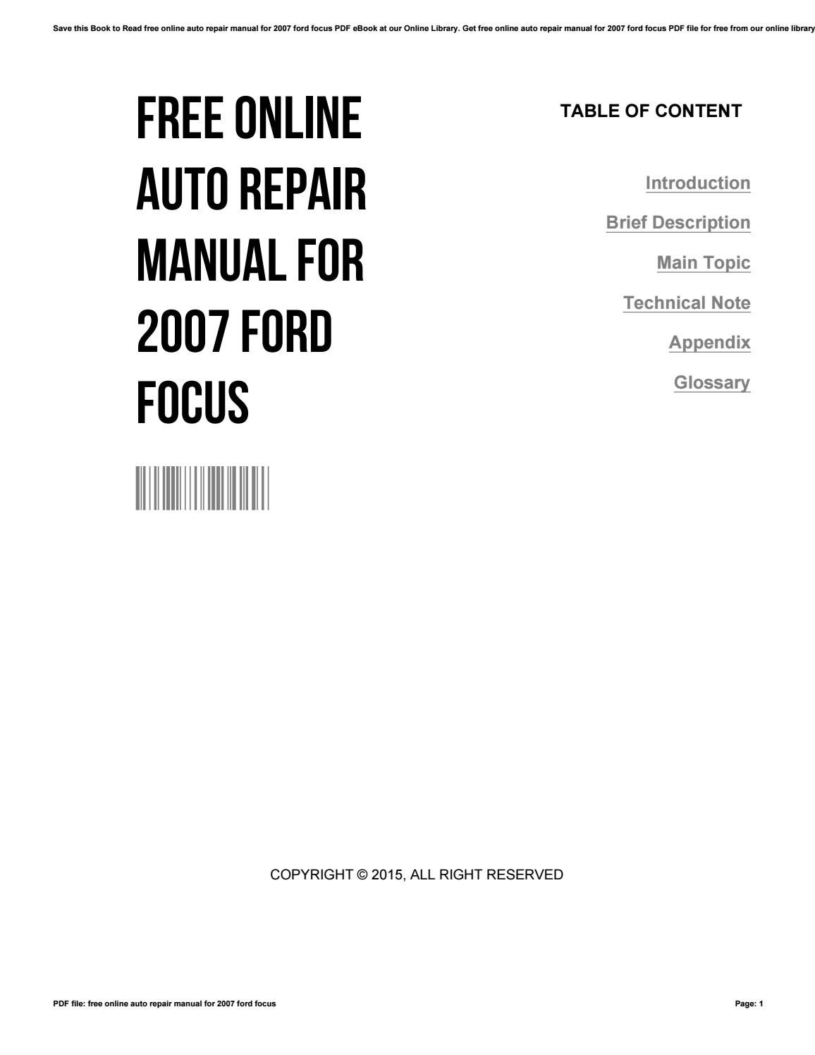 Free online auto repair manual for 2007 ford focus by RogerLopez2682 - issuu