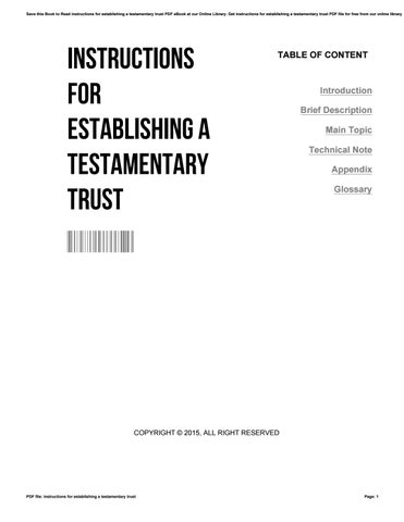 instructions for establishing a testamentary trust