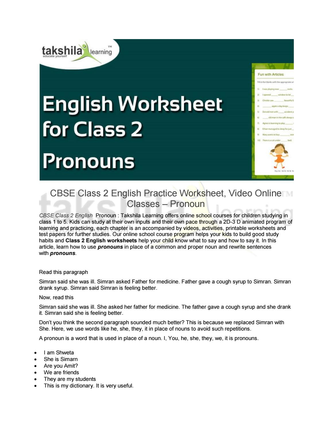 Cbse Class 2 English Practice Worksheet Pronouns By Takshila Learning Online Classes Issuu