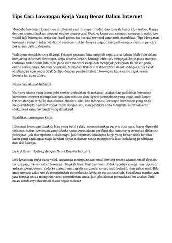 Tips Cari Lowongan Kerja Yang Benar Dalam Internet By Pingayahidupok Issuu