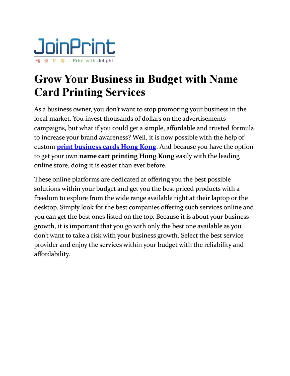 Grow your business in budget with name card printing services by grow your business in budget with name card printing services by joinprint issuu reheart