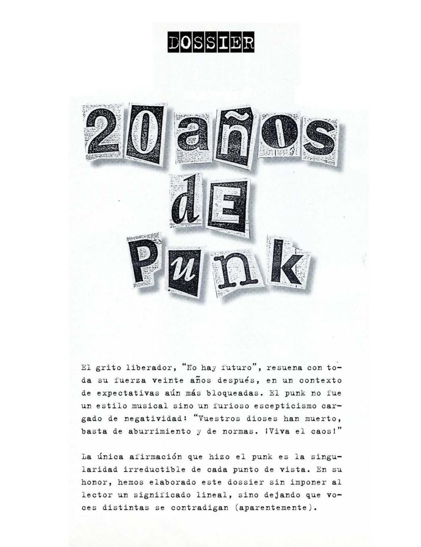 Dossier 20 años de Punk by Revista Ajoblanco - issuu