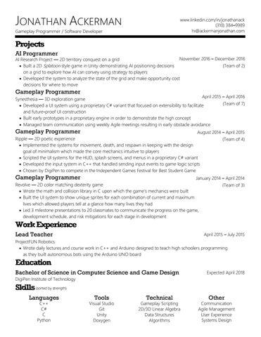 Resume By Jonathan Ackerman Issuu - Game design work experience
