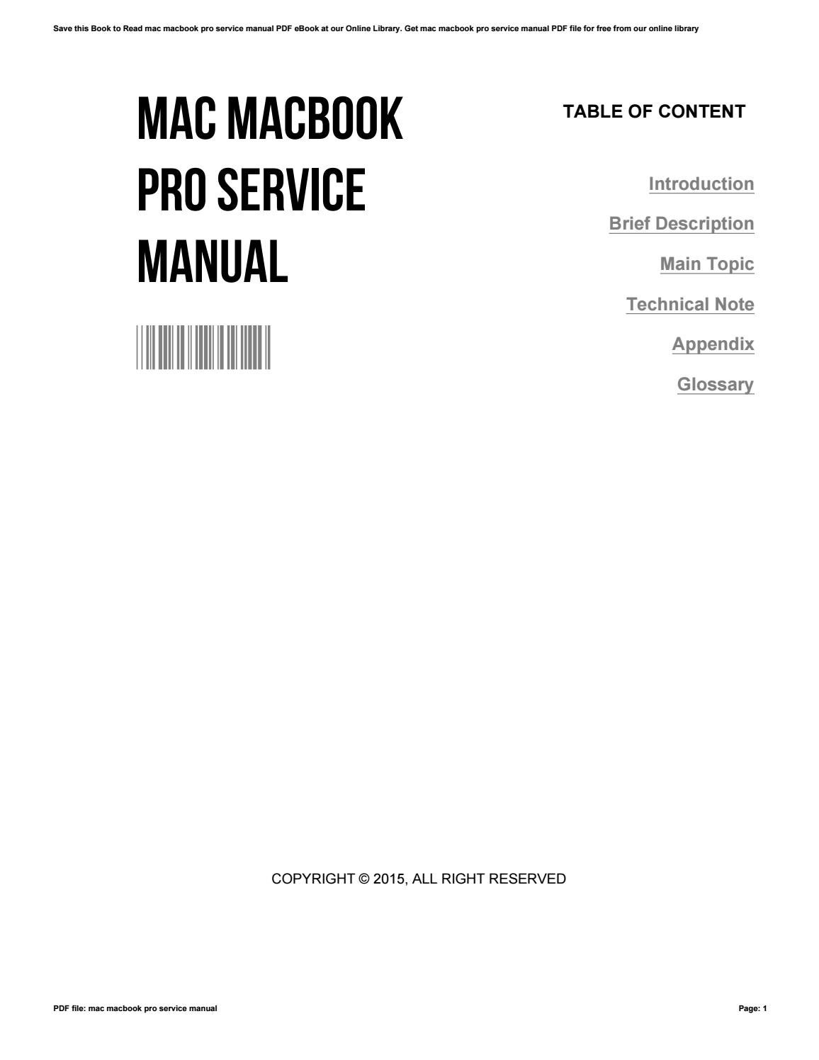 mac macbook pro service manual by denisearmstead3145 issuu rh issuu com apple macbook pro service manual Every Mac MacBook Pro