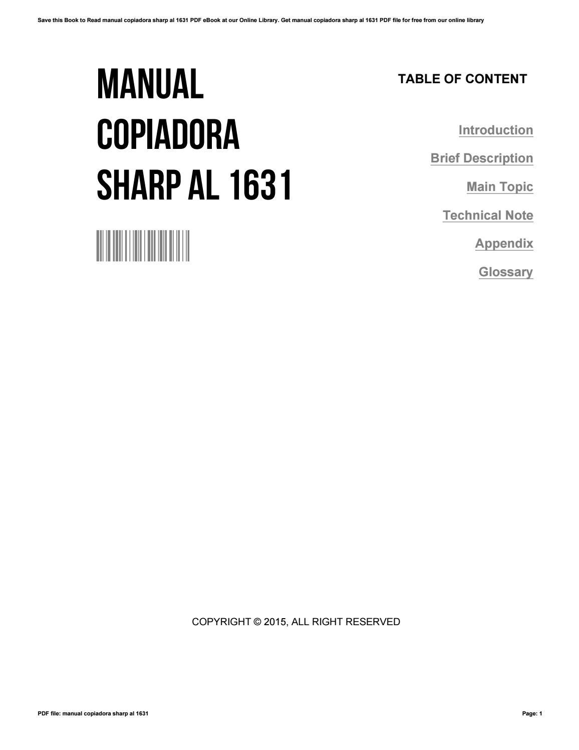 Manual copiadora sharp al 1631 by JamesBane4554 issuu