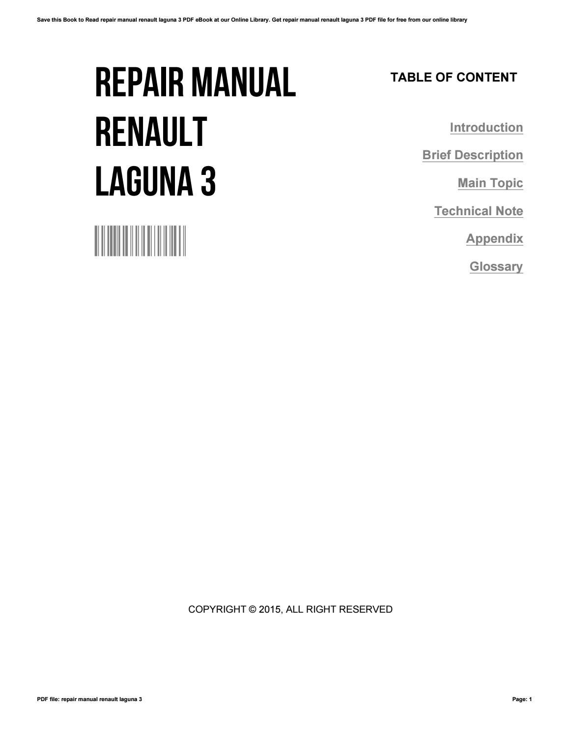 Repair manual renault laguna 40 by BarbaraWells40   issuu