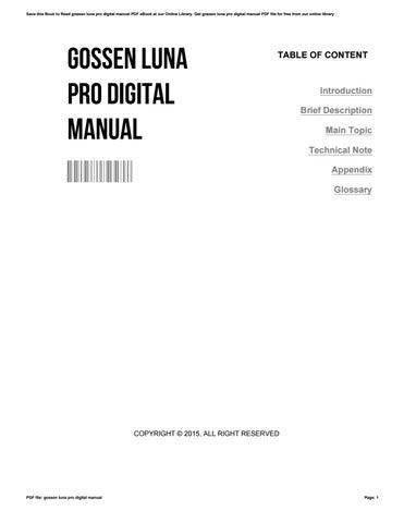 gossen luna pro digital manual by barbarawells2812 issuu rh issuu com Gossen Luna Pro Light Meter Older Gossen Luna Pro Repair