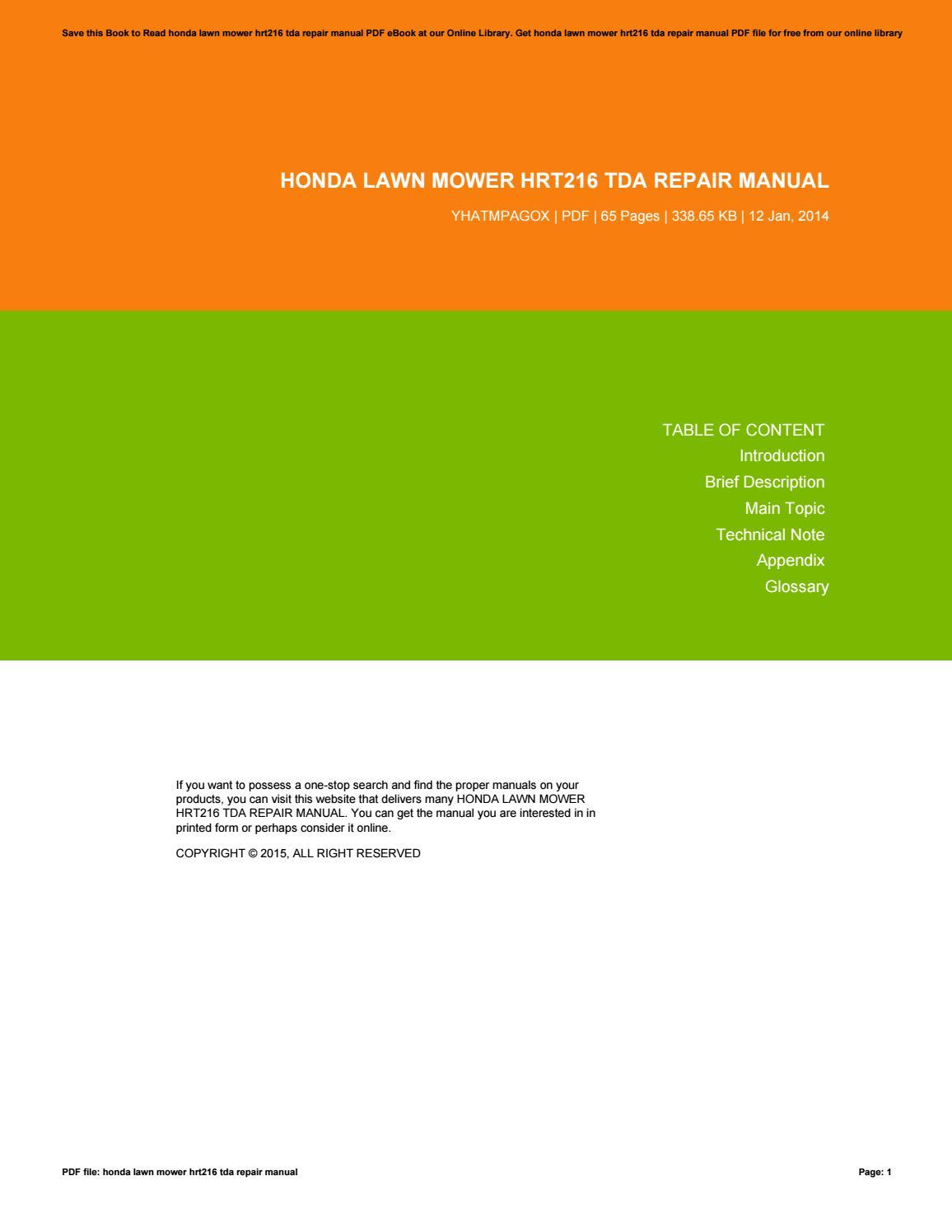 honda lawn mower hrt216 tda repair manual by nicholasbrown4016 issuu
