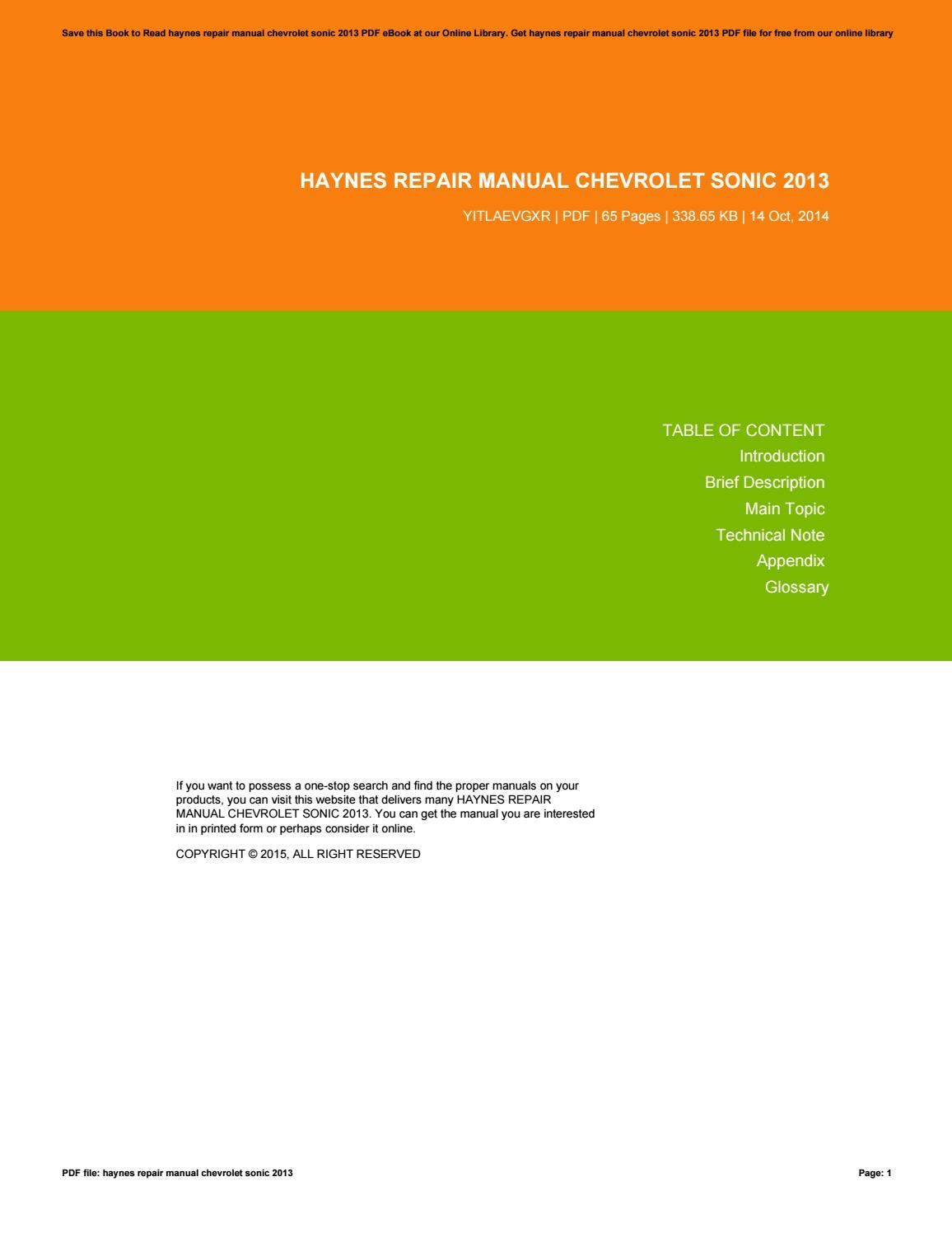 haynes repair manual chevrolet sonic 2013 by angelabrown2952 issuu rh issuu com Auto Repair Manuals Online Haynes Repair Manuals Mazda