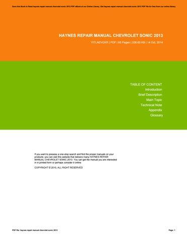 chevy sonic repair manual