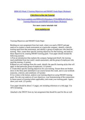 Hrm 420 week 3 training objectives and smart goals paper (walmart