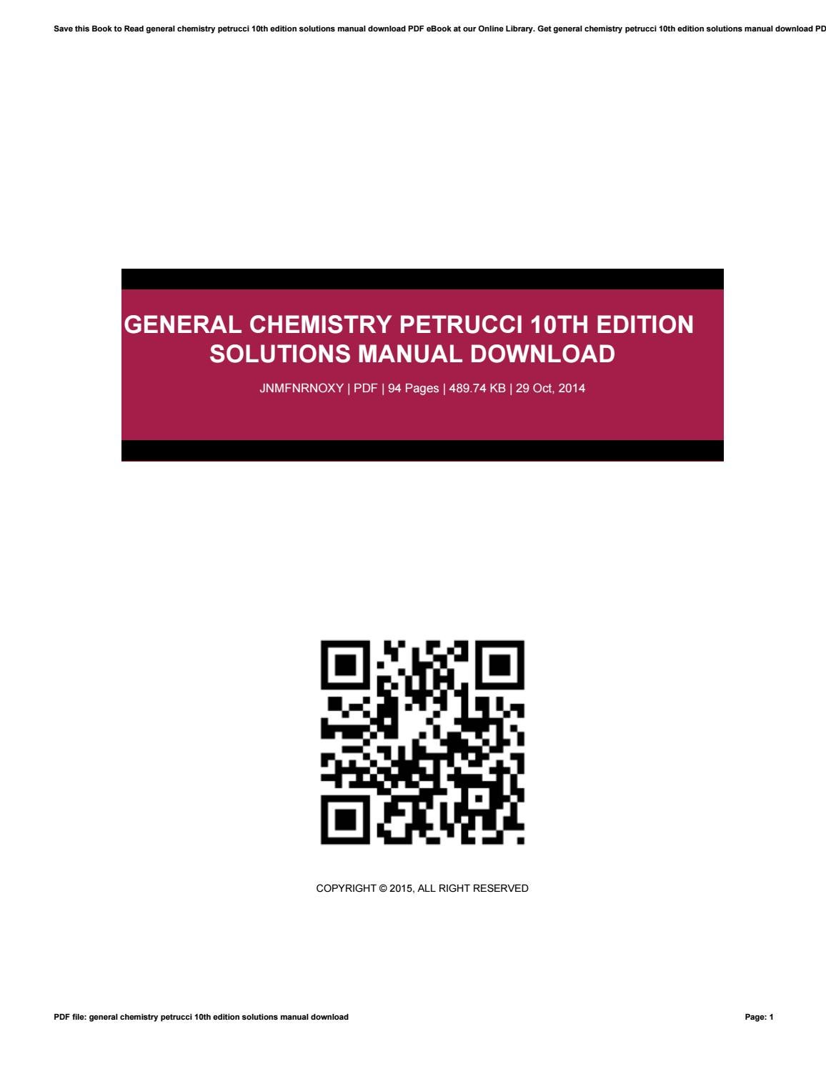 General chemistry petrucci 10th edition solutions manual download by  MillardCarlton4903 - issuu