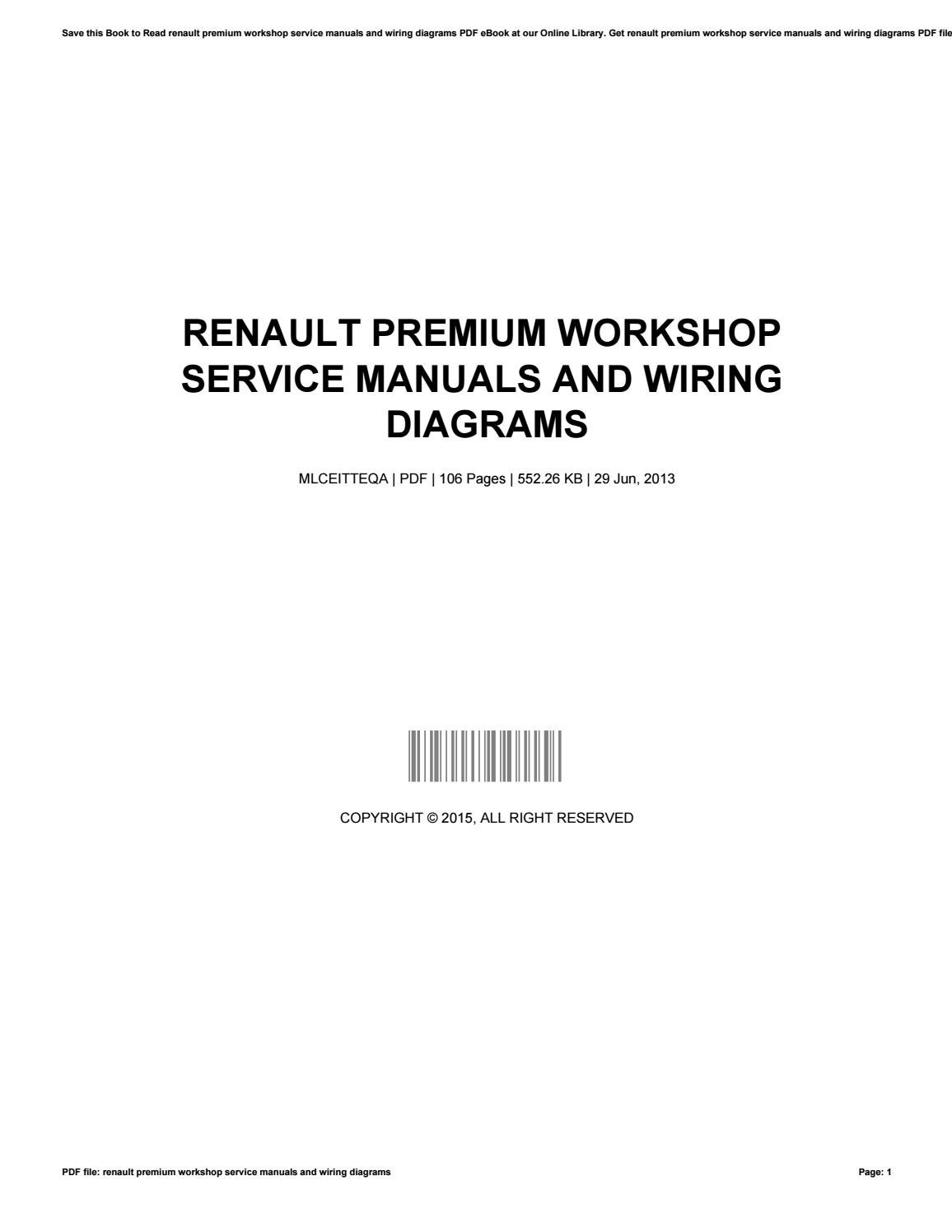 Renault Premium Workshop Service Manuals And Wiring