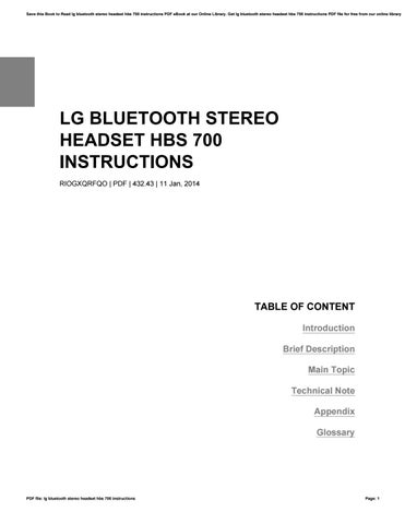 Lg Bluetooth Stereo Headset Hbs 700 Instructions By Melbashelton4713