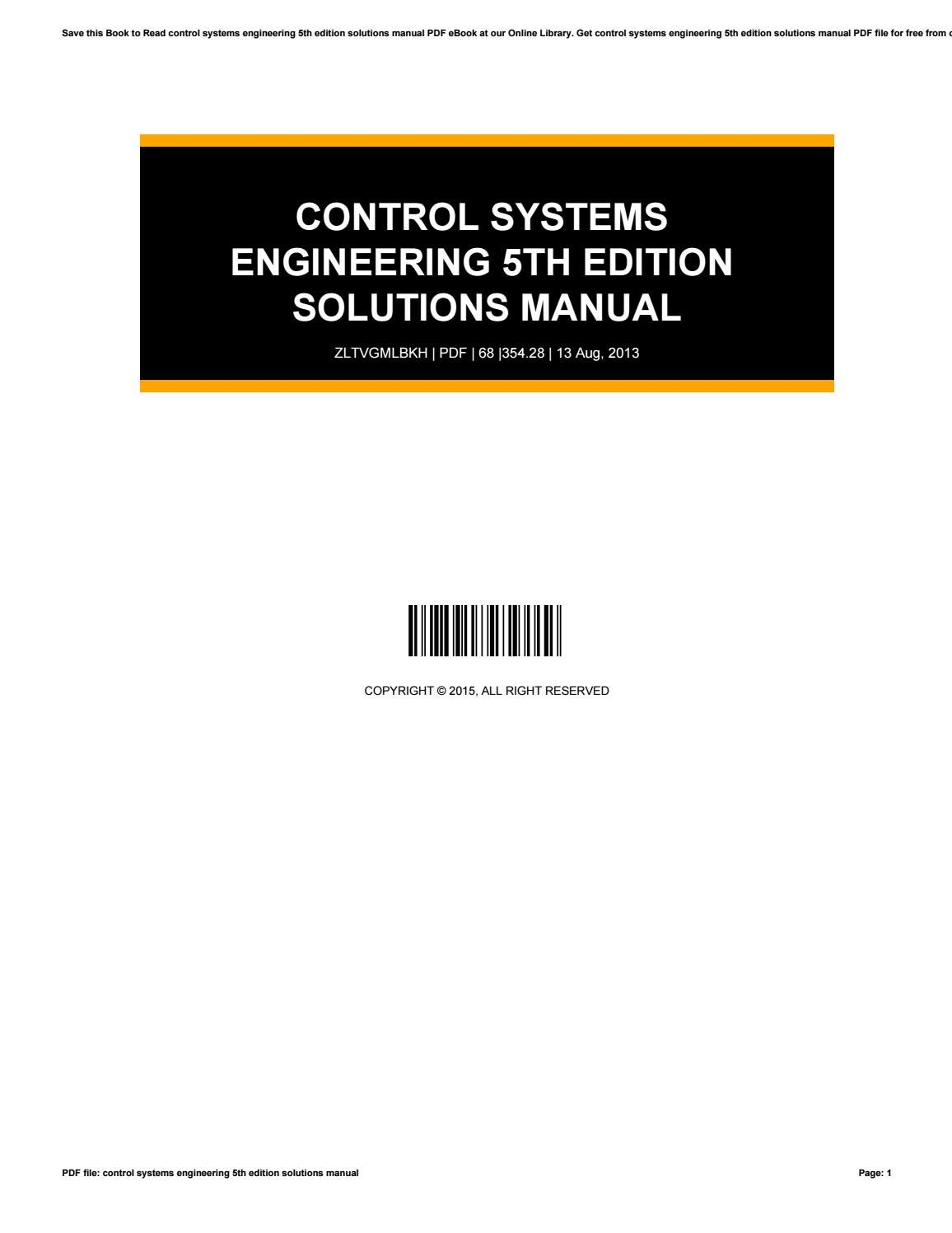 Control systems engineering 5th edition solutions manual by WadeKing3844 -  issuu