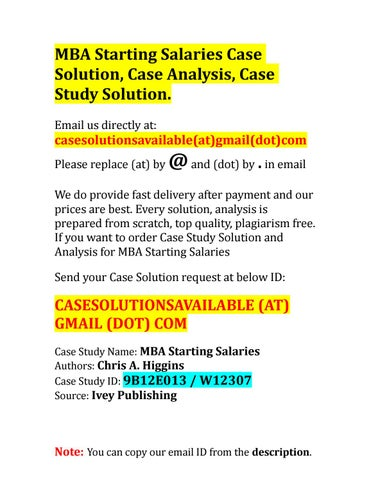 Case Study Solution Of Mba - Rate this Article