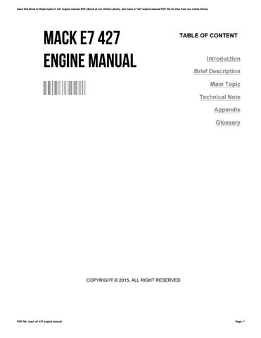 mack e7 427 engine manual by tonyarocha3456 issuu rh issuu com mack e7 427 service manual 427 Mack Engine Problems