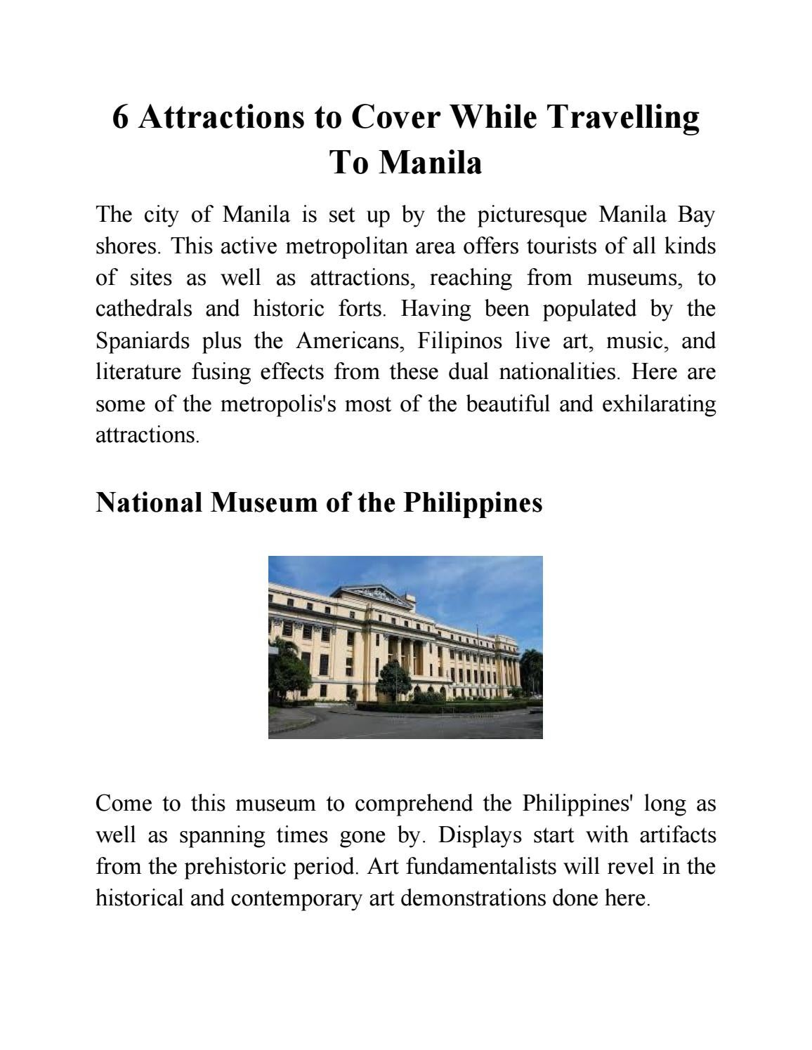 6 Attractions to Cover While Travelling To Manila by Robert Brendon