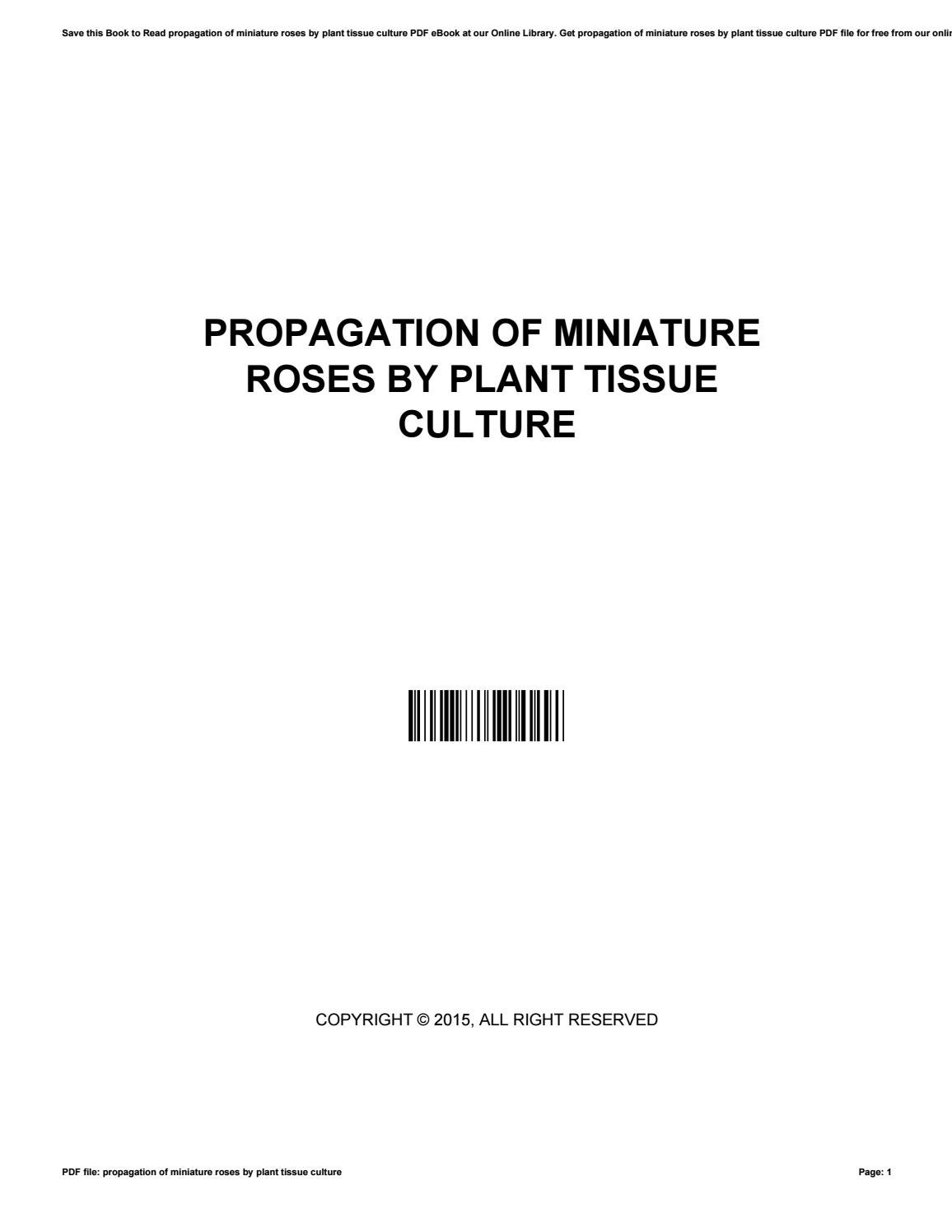 Propagation of miniature roses by plant tissue culture by
