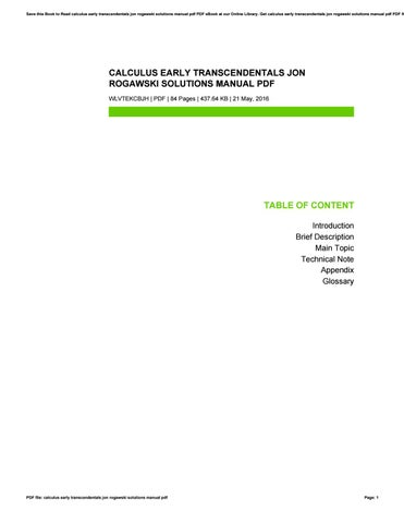 calculus early transcendentals jon rogawski solutions manual pdf by rh issuu com multivariable calculus rogawski solutions manual pdf jon rogawski calculus 2nd edition solution manual