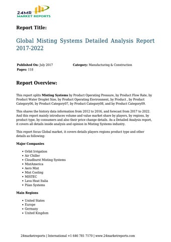 Global Misting Systems Detailed Analysis Report 2017-2022 by
