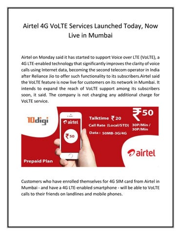 Airtel 4g volte services launched today by Anusha Patel - issuu