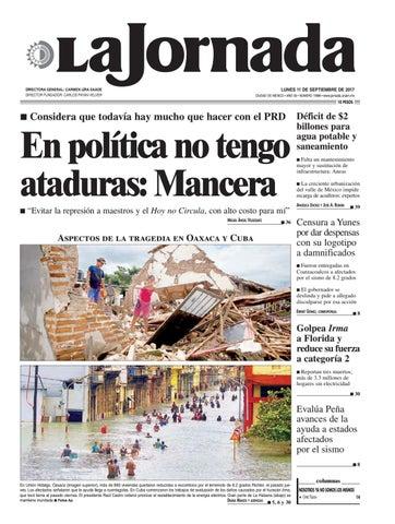 95f73b67d LUNES 11 DE SEPTIEMBRE DE 2017 CIUDAD DE MÉXICO • AÑO 33 • NÚMERO 11898 •  www.jornada.unam.mx