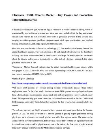 electronic health records market by kishor kanade issuu