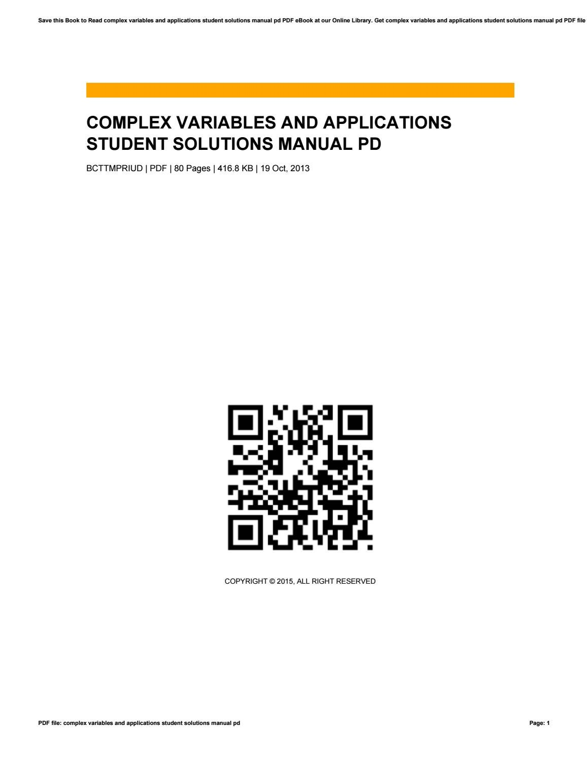 Complex variables and applications student solutions manual pd by  VictorStreeter1614 - issuu