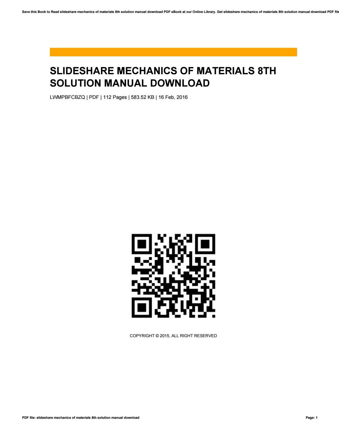 Slideshare mechanics of materials 8th solution manual