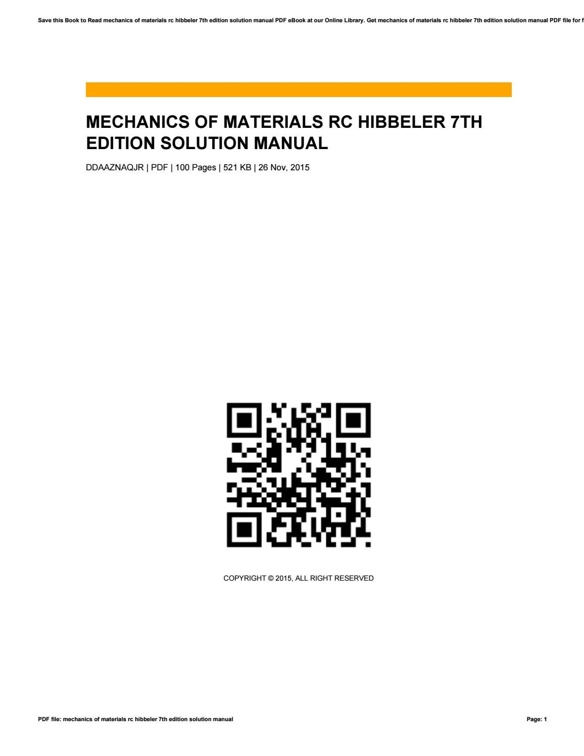 Mechanics of materials rc hibbeler 7th edition solution manual by  VictorStreeter1614 - issuu