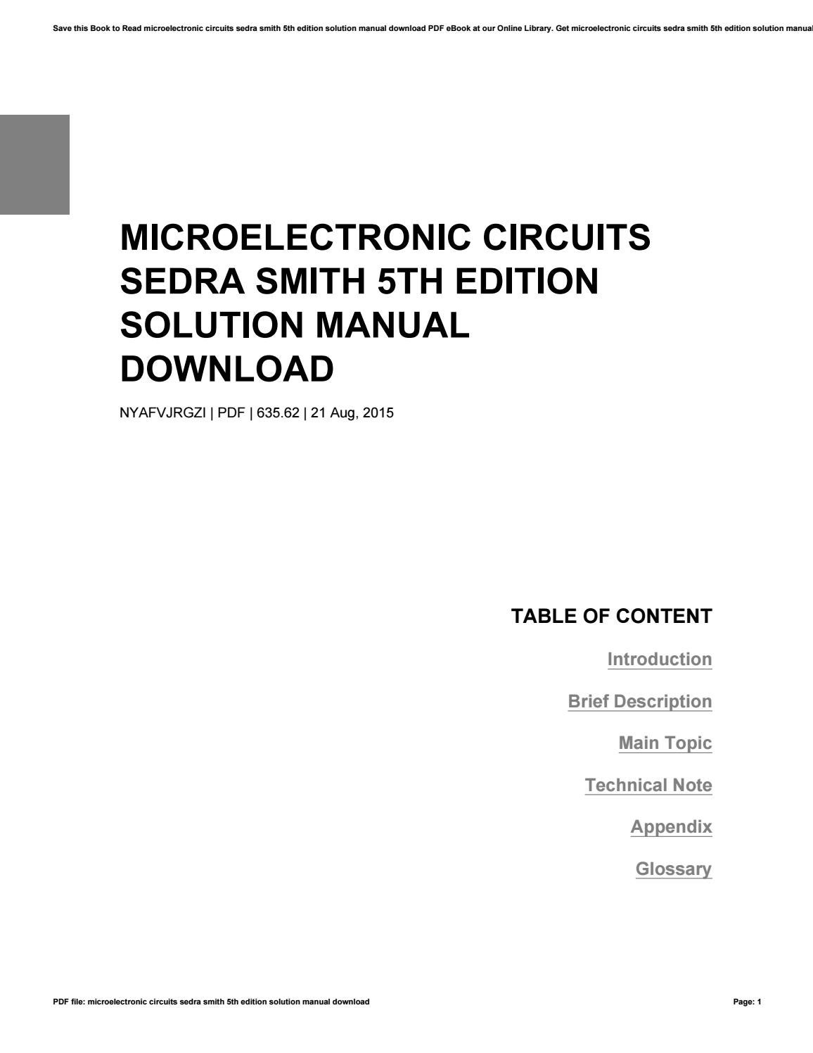 Solutions manual microelectronic circuits analysis and design 2nd edi….
