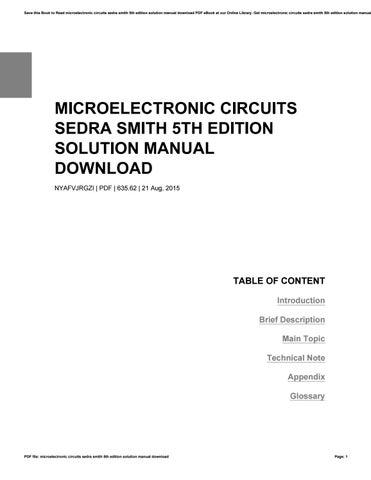 microelectronic circuits sedra smith 5th edition solution manual rh issuu com microelectronic circuits 4th edition solution manual microelectronic circuits 7th edition solution manual pdf