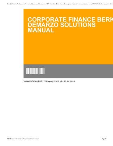 corporate finance berk demarzo solutions manual by rh issuu com corporate finance berk demarzo 3rd edition solutions manual pdf corporate finance berk demarzo 3rd edition solutions manual