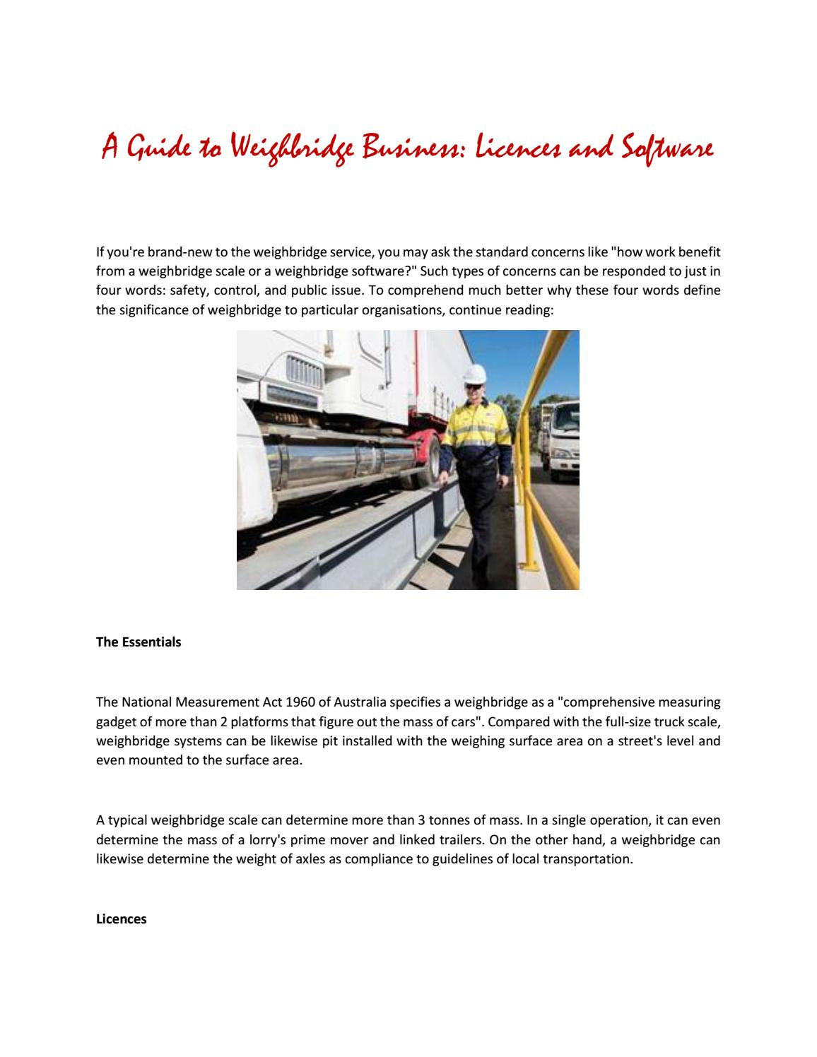 A guide to weighbridge business licences and software by