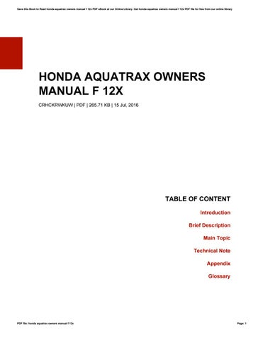 honda aquatrax owners manual f 12x by jeanwise2562 issuu rh issuu com honda aquatrax f 12x owners manual pdf 2004 honda aquatrax r-12x owners manual