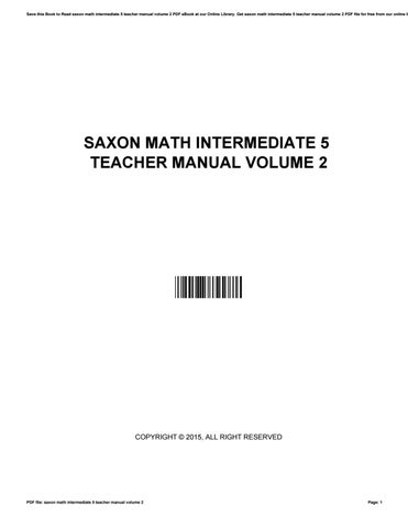 saxon math intermediate 5 teacher manual volume 2 by rh issuu com Saxon Math Intermediate 5 Lesson 31 Saxon Math Intermediate 5 3A Answer Key