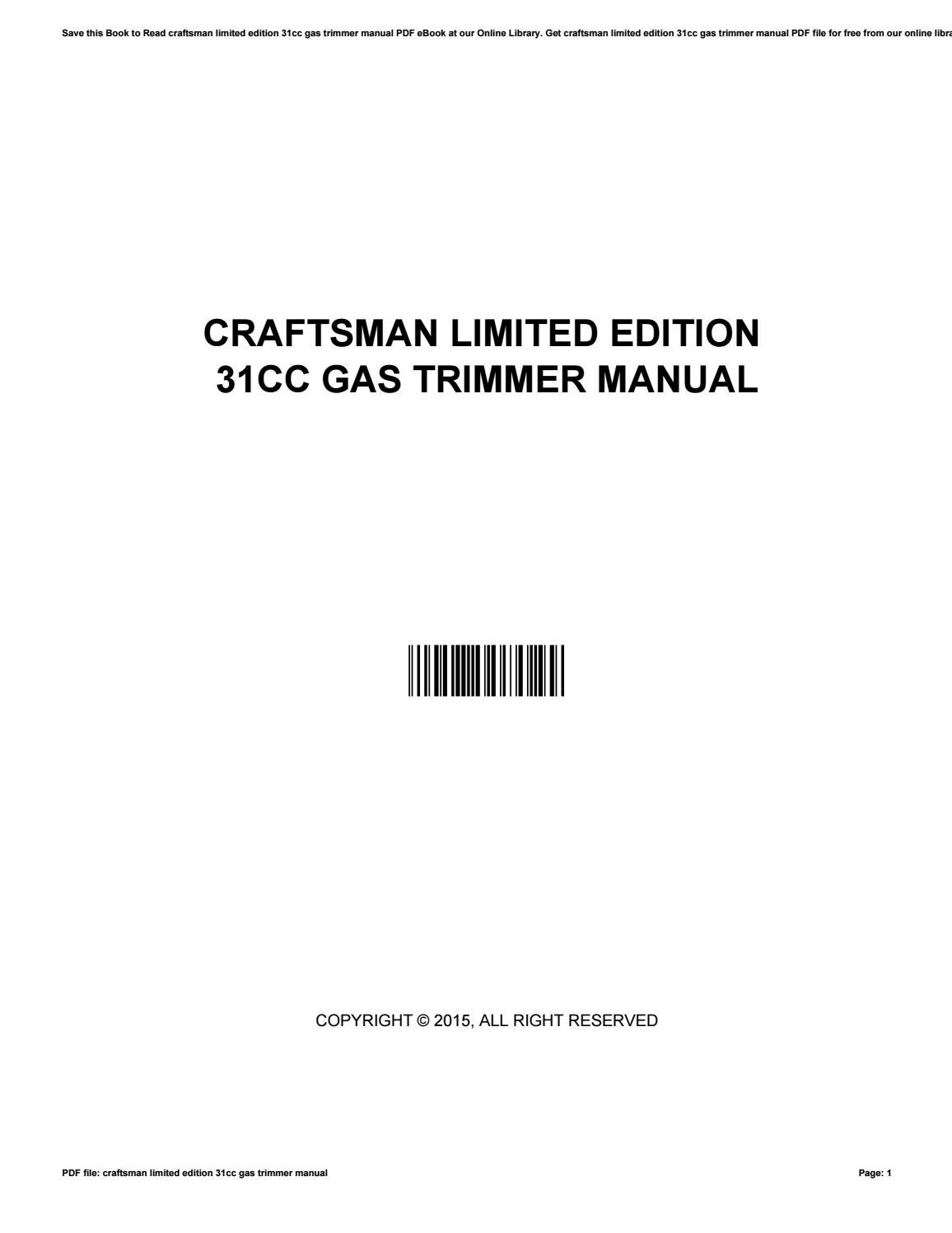 craftsman limited edition 31cc gas trimmer manual