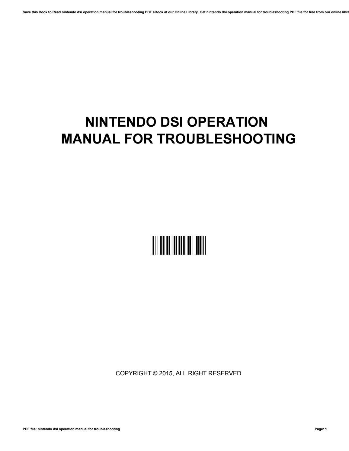 Nintendo dsi operation manual for troubleshooting by TyroneMontgomery4142 -  issuu