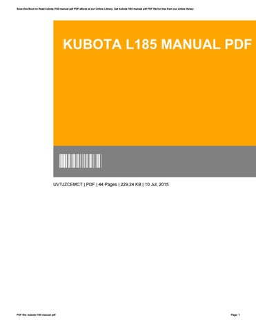 Kubota L185 Manual Pdf By KendraWilson1801 Issuu