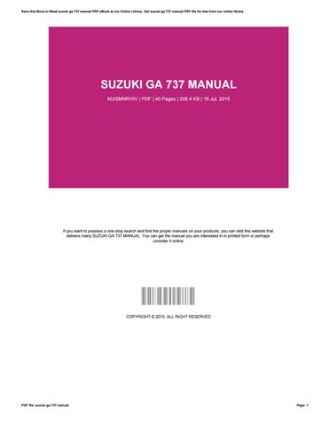 suzuki ga 737 manual by ronnamoyer4627 issuu rh issuu com Suzuki RV 125 95 Suzuki Sidekick Manual