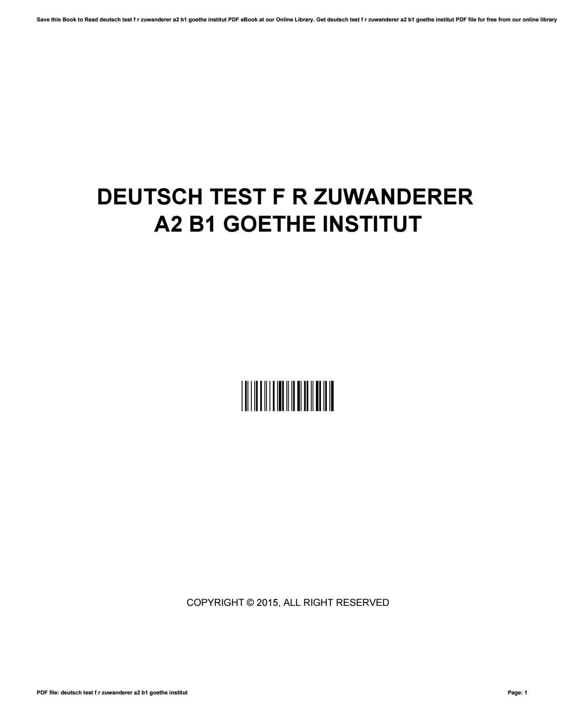Deutsch test f r zuwanderer a2 b1 goethe institut by