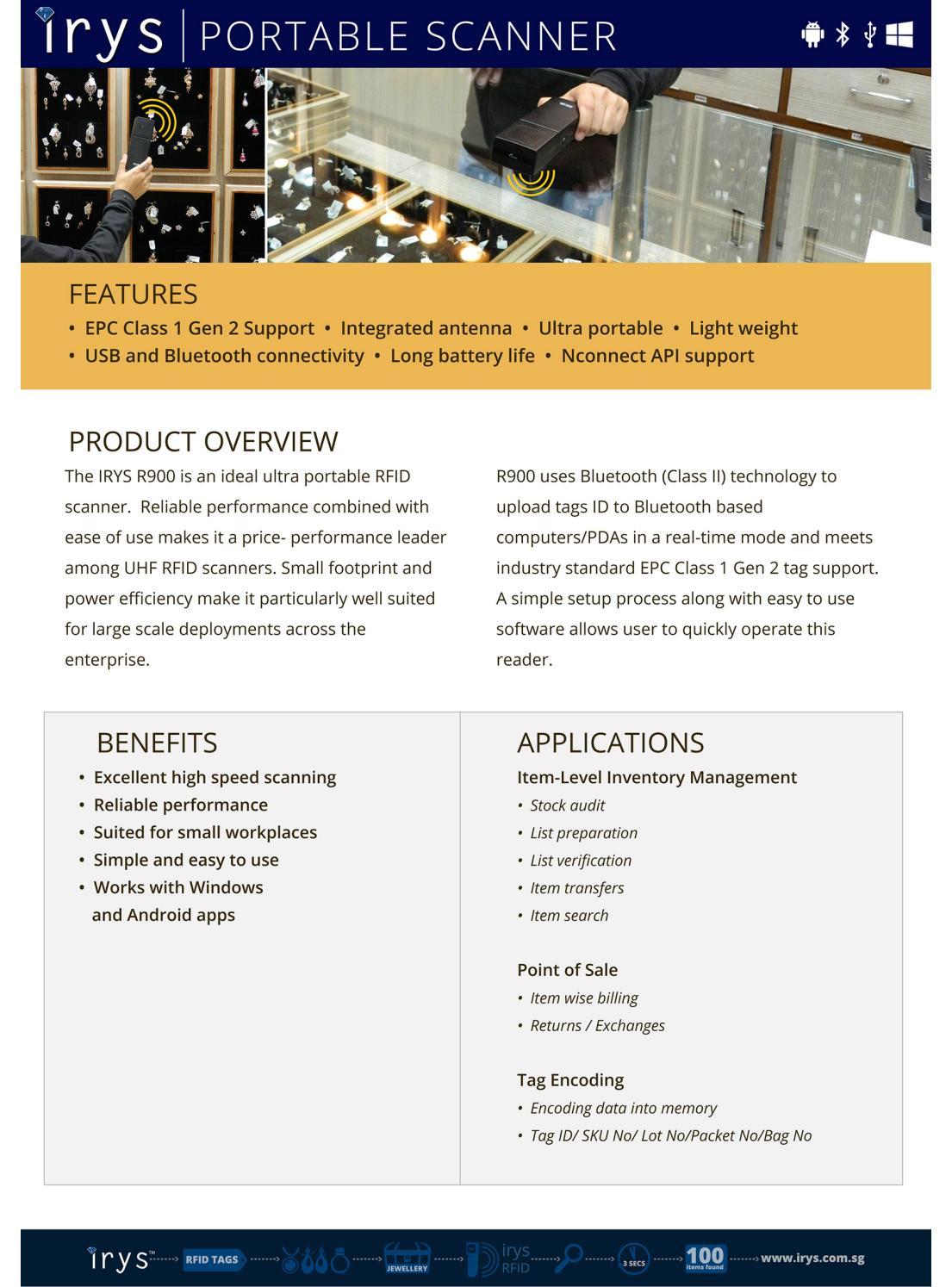 Buy RFID Tags, RFID Portable Scanners - Irys Pte  Ltd  by