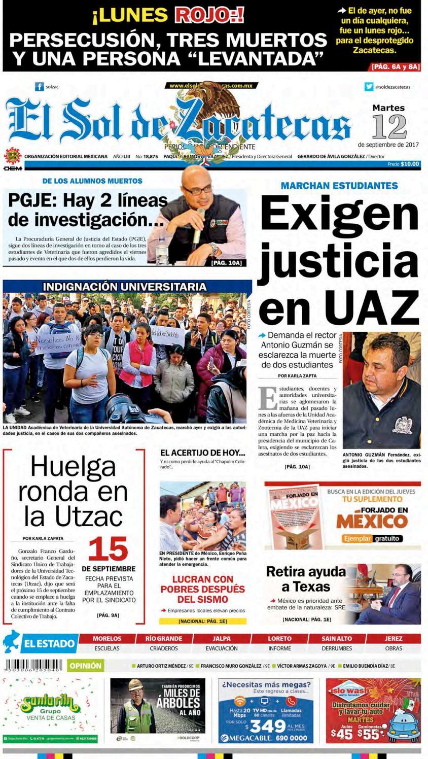 El Sol De Zacatecas 12 De Septiembre 2017 By El Sol De Zacatecas  # Muebles Goitia Tijuana